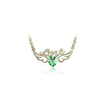 Womens Green and Gold Love Pendant Necklace with Angel Wings