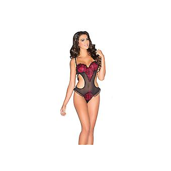 Be Wicked BW1579 1-Piece Red & Black Lace Teddy