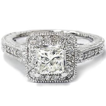 1 1 / 4ct Princess Cut verbeterd Diamond Vintage Halo verlovingsring witgoud