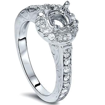 1/3ct Vintage Engagement Ring Setting 14K White Gold