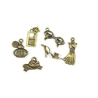 6 x Antique Bronze Tibetan 17-25mm Girls Night Out Charm/Pendant Set ZX17195