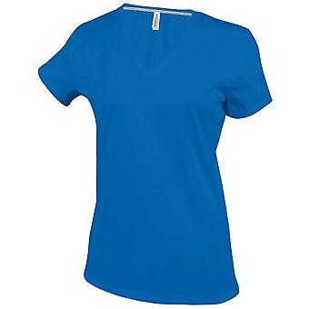Kariban Ladies Fit Short Sleeve V Neck Plain Colours Cotton T-Shirt