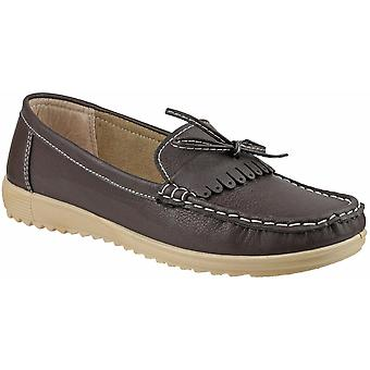 Amblers Ladies Elba Slip On Stylish Lace Summer Loafer Brown
