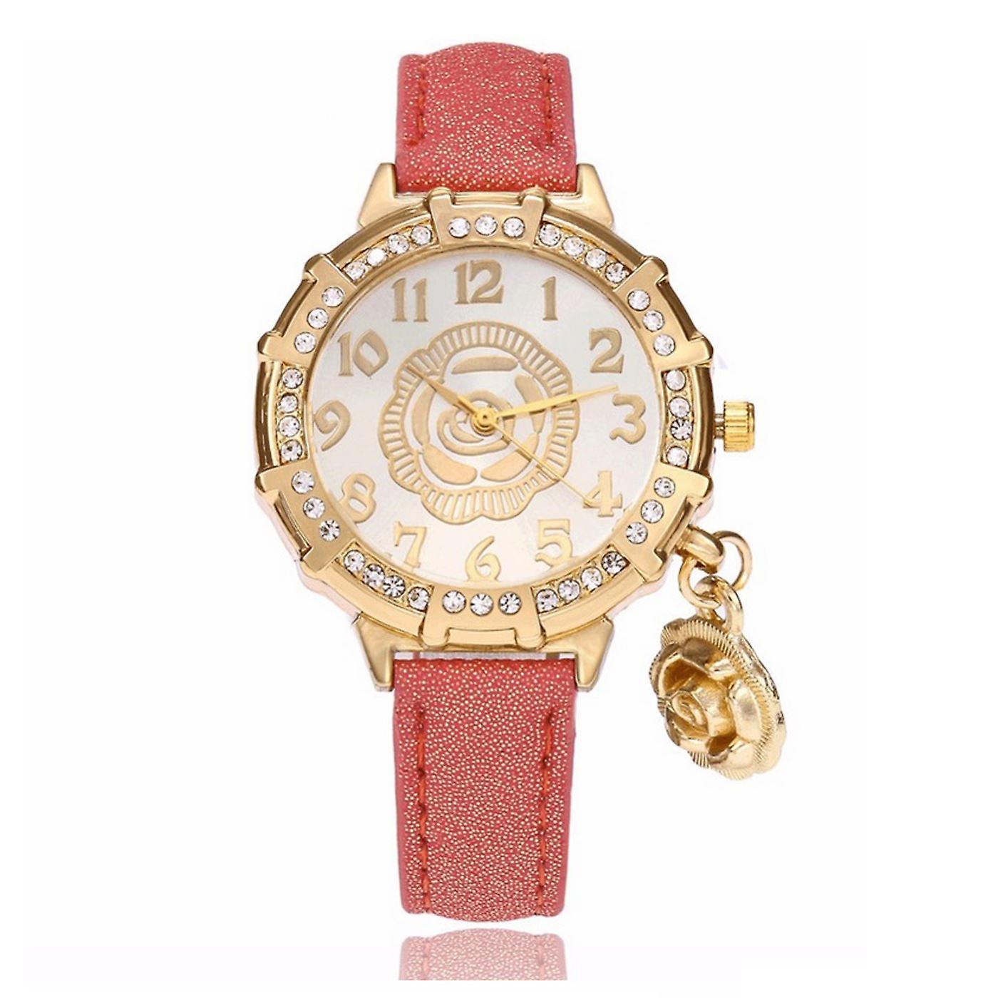 Classy Yellow Gold Flower Watch Luxury Stones Elegant Time ROSE
