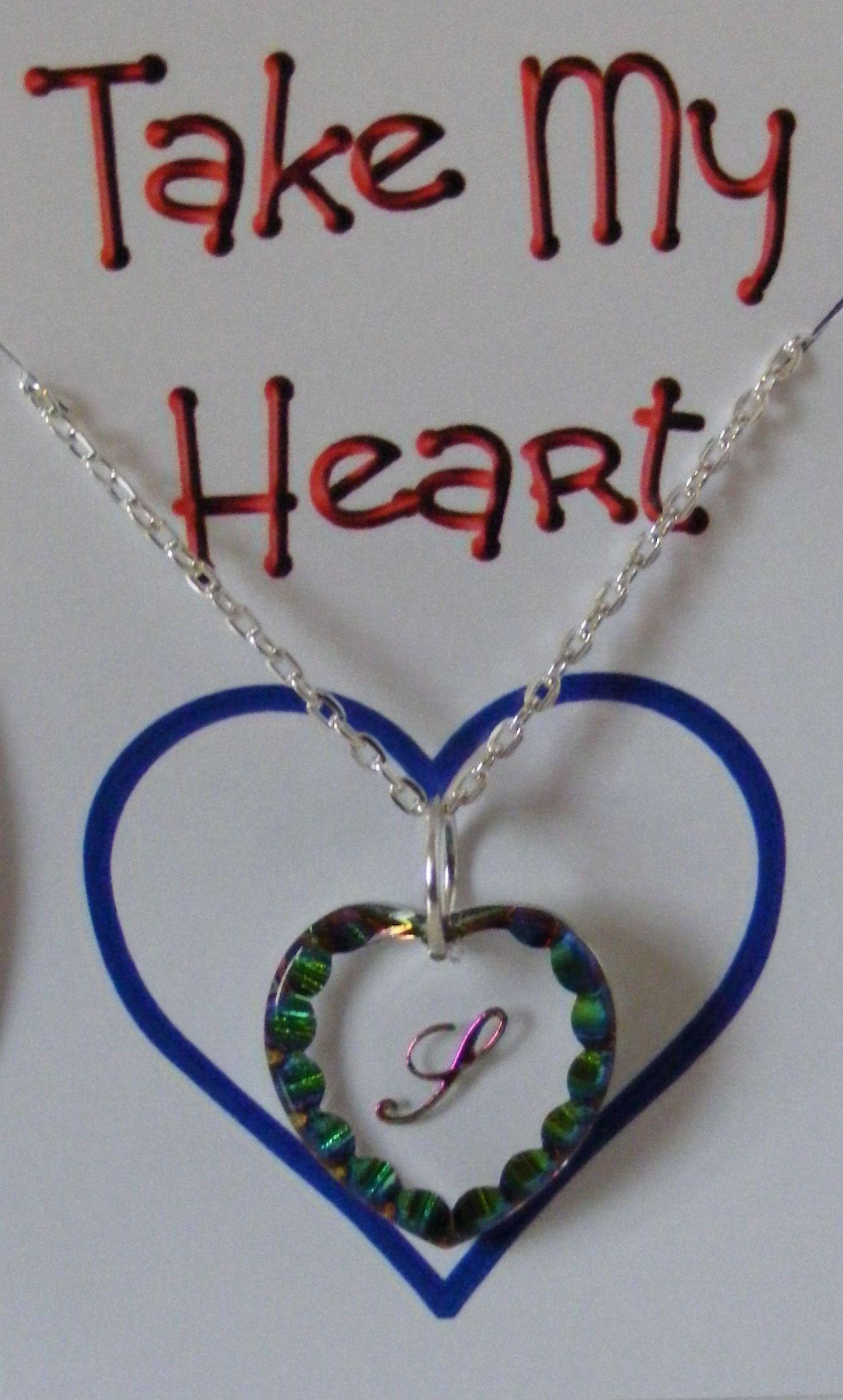 Heliotrope Initial Heart Crystal Pendant - S