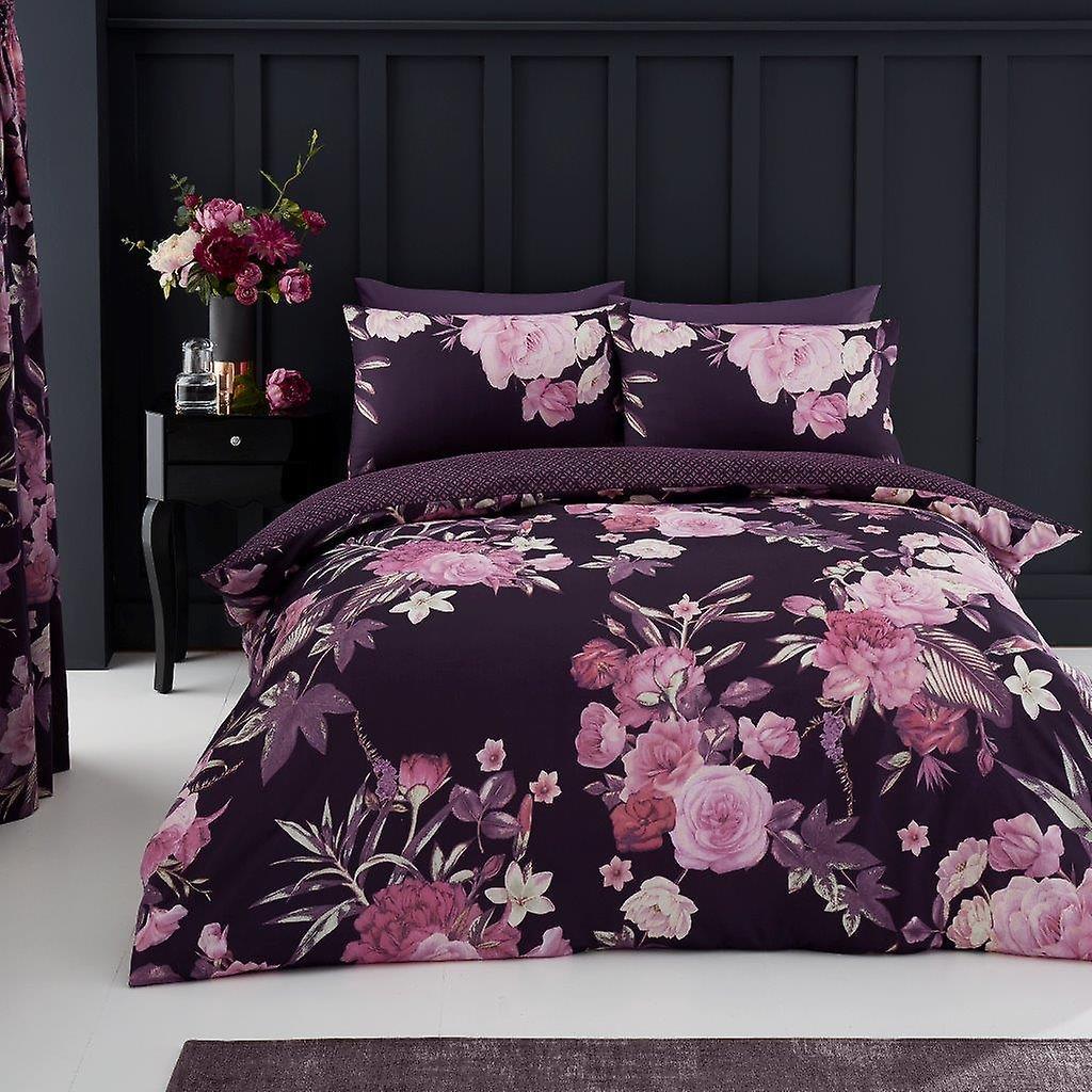 Flora Multi rosor 4 st påslakan och lakan Polycotton blommiga sängkläder inställd
