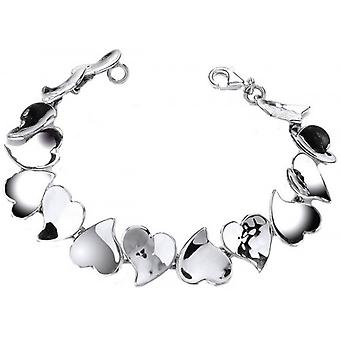 Cavendish French Sterling Silver Hammered Hearts Bracelet - Silver