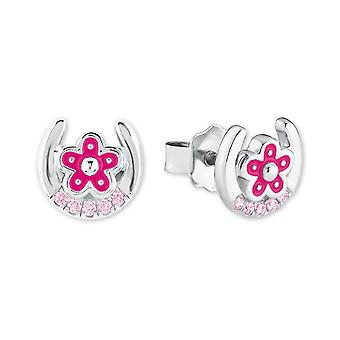 Princess Lillifee children earrings silver Horseshoe flowers pink 2021005
