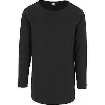 Urban classics men's sweater long shaped waffle