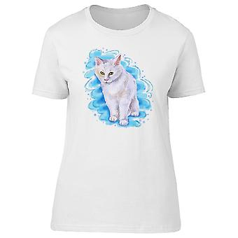 Maine Coon Cat On Blue Spot Tee Women's -Image by Shutterstock