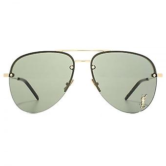 Saint Laurent Classic 11 M Pilot Sunglasses In Gold Green