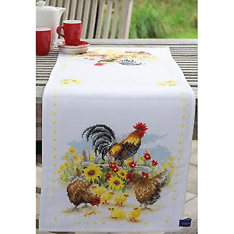 Cock-A-Doodle-Doo Runner On Aida Counted Cross Stitch Kit-12.5