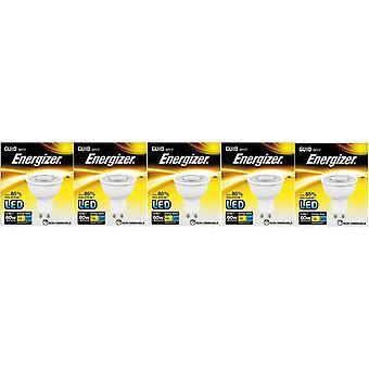 5 X Energizer LED Energy Saving Lightbulb GU10 5.8w = 60w Warm White[Energy Class A+]