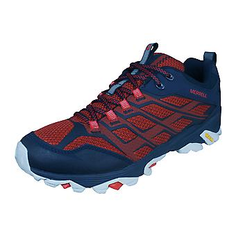 Mens Merrell Hiking Trainers Moab FST Walking Shoes - Navy and Red