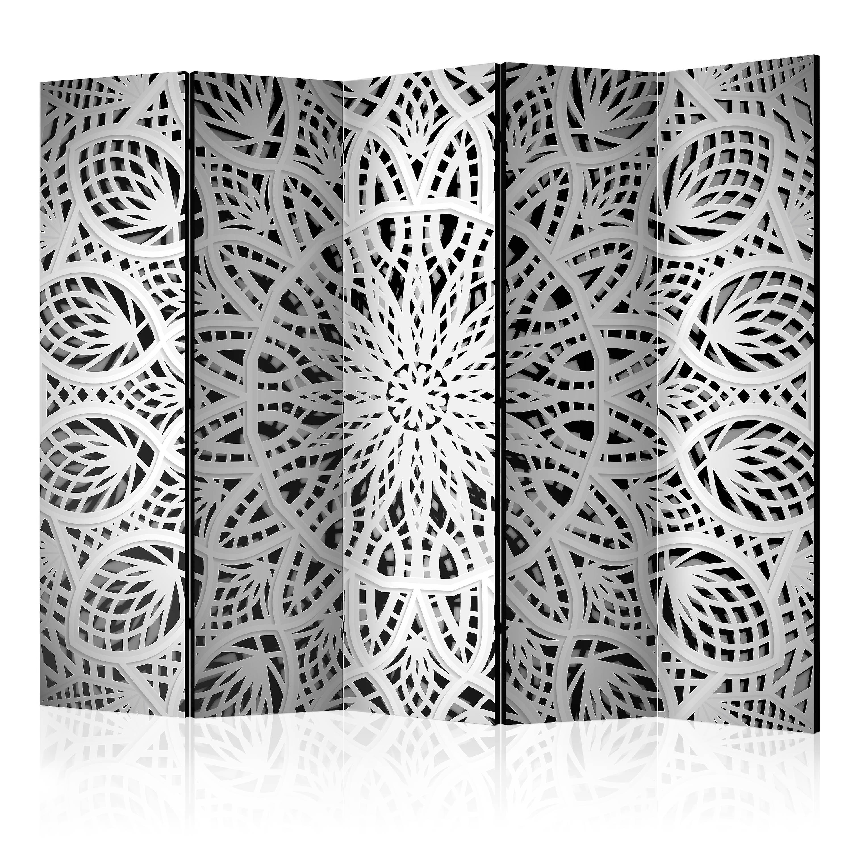 Paravent 5 volets - blanc Mandala II [Room Dividers]