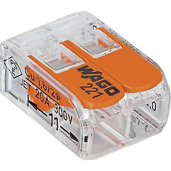 WAGO 221-412 Connector clip flexible: 0.14-4 mm² rigid: 0.2-4 mm² Number of pins: 2 100 pc(s) Transparent, Orange