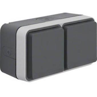 Berker Twin socket W.1 (surface-mounted) Grey, Light grey 47753525