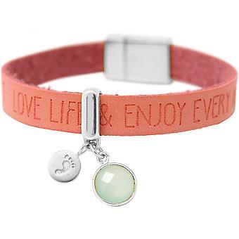 -Armband - voetafdruk - 925 zilver - wensen - roze - roze - Chalcedoon - sea green - magnetische sluiting