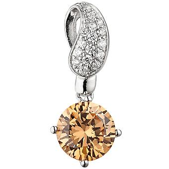 Charm 925 sterling silver with cubic zirconia champagne colours silver pendant