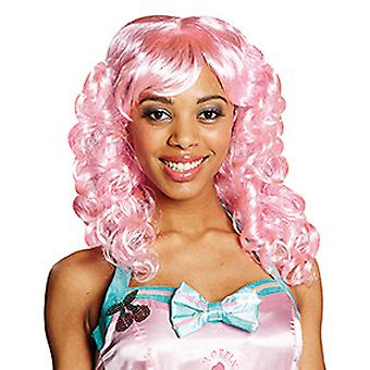 Candy cotton shoulder length curly wig with side parting ladies pink