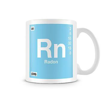 Taza impresa científica con elemento símbolo 086 Rn - radón