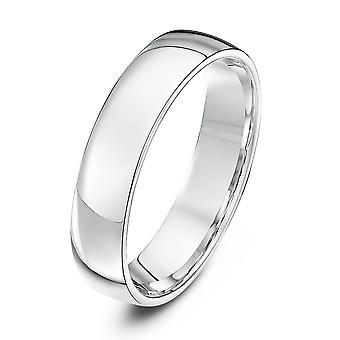 Star Wedding Rings 18ct White Gold Light Court Shape 5mm Wedding Ring