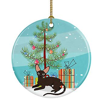 Peterbald Cat Merry Christmas Tree Ceramic Ornament