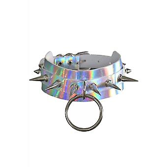 Attitude Clothing Holographic Spike Stud O-Ring Choker