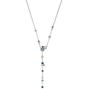 Elements Silver Swarovski Design Long Necklace - Blue/Silver