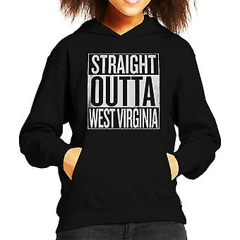 White Text Straight Outta West Virginia US States Kid's Hooded Sweatshirt
