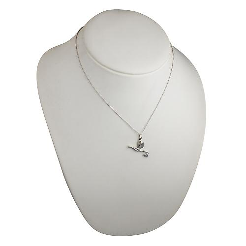 Silver 22x30mm solid Stork with Baby Pendant with a rolo Chain 18 inches