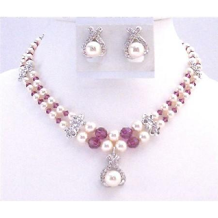Mother Of Groom Jewelry Double Stranded Necklace Swarovski Ivory Pearl
