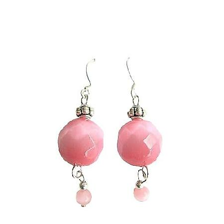 Multifacated Rose Pink Cat Eye 12mm Sterling Silver 925 Earrings
