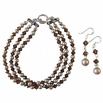 40f8bcf707d7 Overkommelig Swarovski perler krystaller 3 strandede armbånd   øreringe