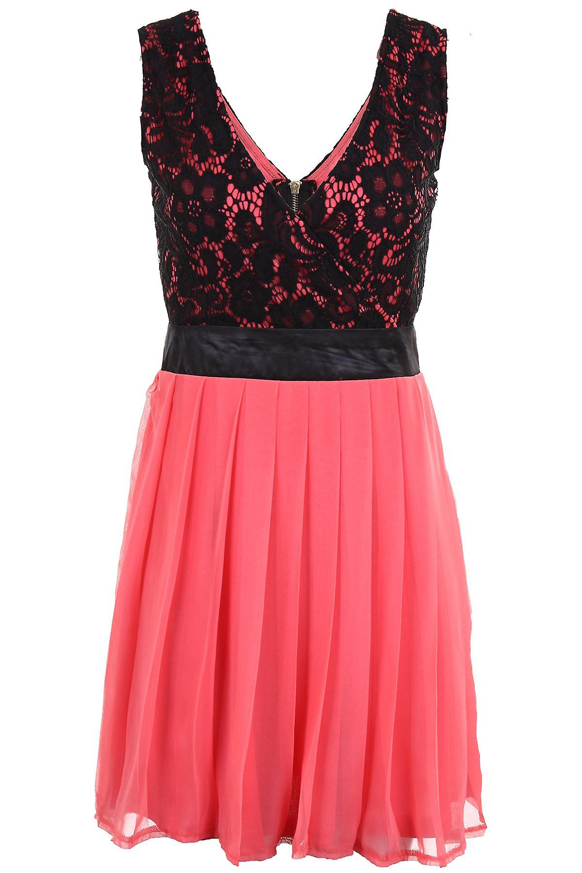 Ladies Pleated Contrast Floral Lace Wrapped Front Low V neck Zip Back Party Dress