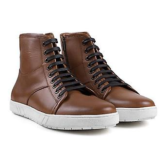 Mens tan leather high top trainers