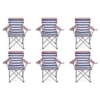 6 Yello plegable sillas para Camping, pesca o playa - rayas azul/blanco
