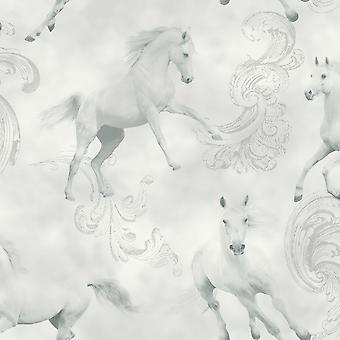 Arthouse Camarillo Light Grey Horse Pony Glitter Wallpaper Shimmer Animal Print