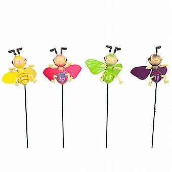 Cartoon Style Happy Springy Wing Insect On Metal Stake Decoration Set of 4 (956105)