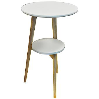 Orion - Retro Solid Wood Tripod Leg Round Table With Shelf - Natural / White