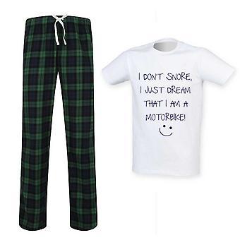 Mens I Don't Snore I Just Dream I'm A Motorbike Tartan Pyjama Set