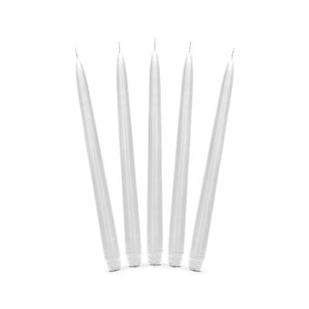 10 Matt White Unscented Tapered 29cm Dinner Candles