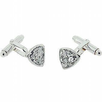Jakob Strauss Gents Sterling Silver Clear CZ Triangle Cufflinks