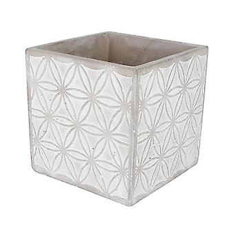 Concrete Pot Square Kaleidoscope Design 11 x 11 x 11Cm