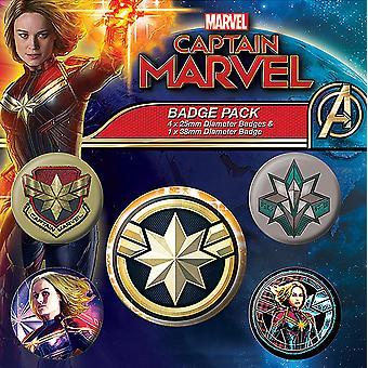 Captain Marvel Button Set Patches bunt, bedruckt, aus Blech, 1x Ø 3,8 cm, 4x Ø 2,5 cm.