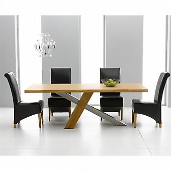 Montana 2.25m Oak & Steel Dining Set With 8 Black Bromley Chairs