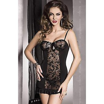 Passion Lingerie Hana Sheer Black Chemise with Lace & Satin