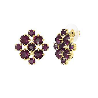Colección eterna Joyeux amatista cristal oro tono Stud perforado pendientes