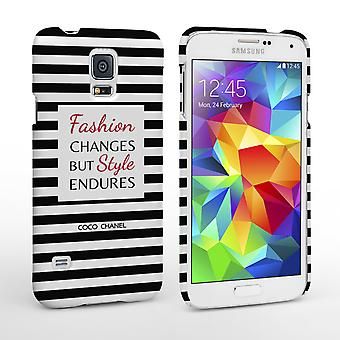 Caseflex Samsung Galaxy S5 Chanel 'Fashion Changes' citeer Case-zwart-wit