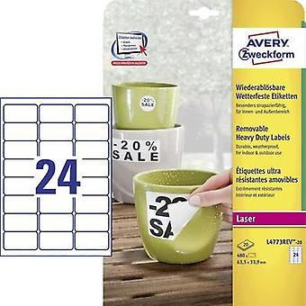 Avery-Zweckform L4773REV-20 Labels (A4) 63.5 x 33.9 mm Polyester film White 480 pc(s) Removable Address labels, Weatherp